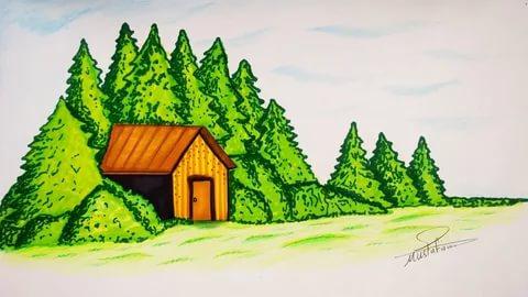 صور رسم منظر طبيعي للاطفال , تعليم الرسم للاطفال