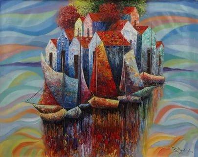صورة لوحات فنية , اجمل الرسومات الفنية الملونة