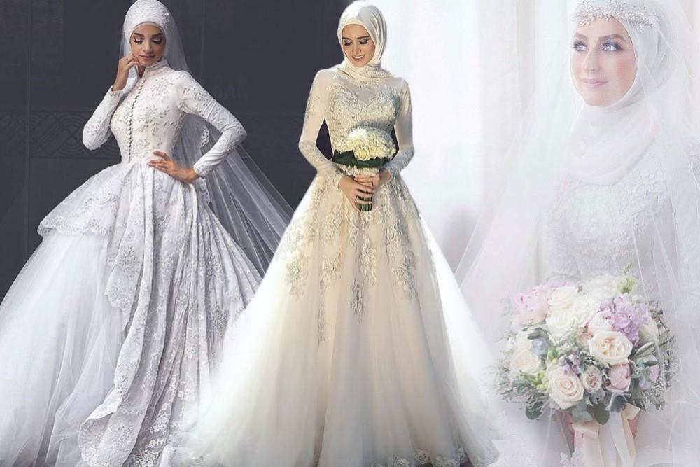 بالصور فساتين اعراس للمحجبات , اجمل فساتين للافراح بالحجاب 1254 6