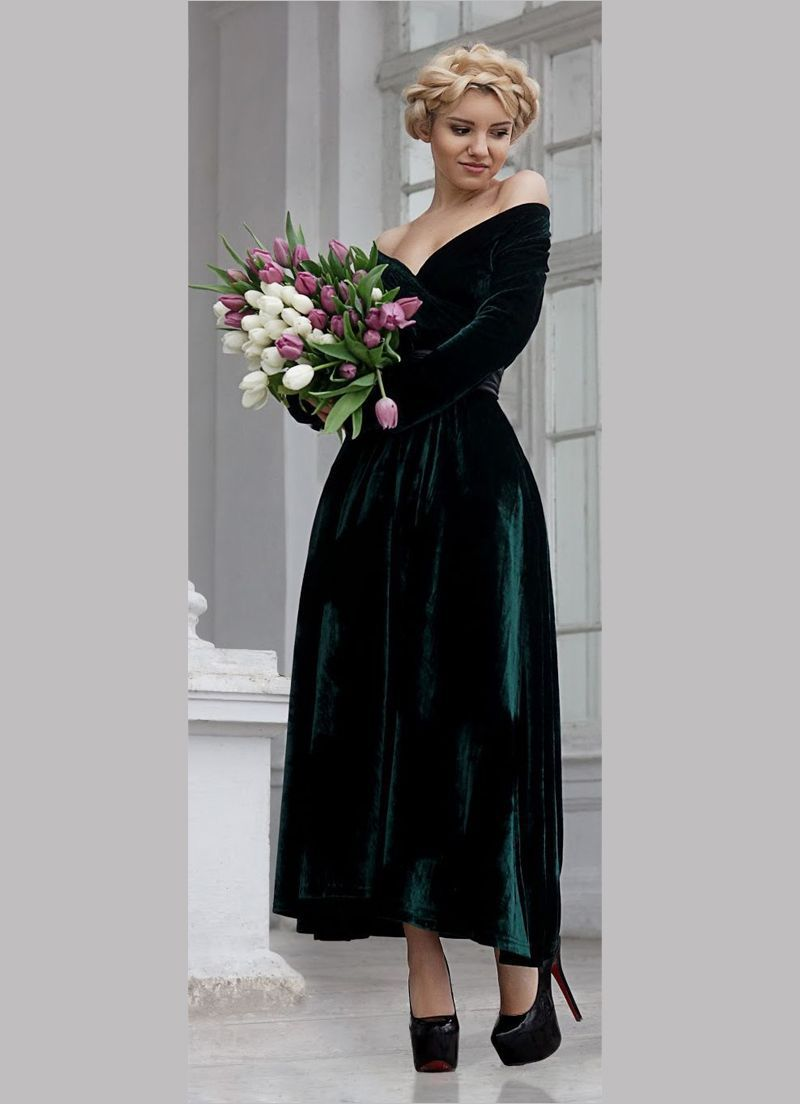 بالصور موديلات فساتين مخمل , اجمل تصاميم فستان مخمل 2777 12