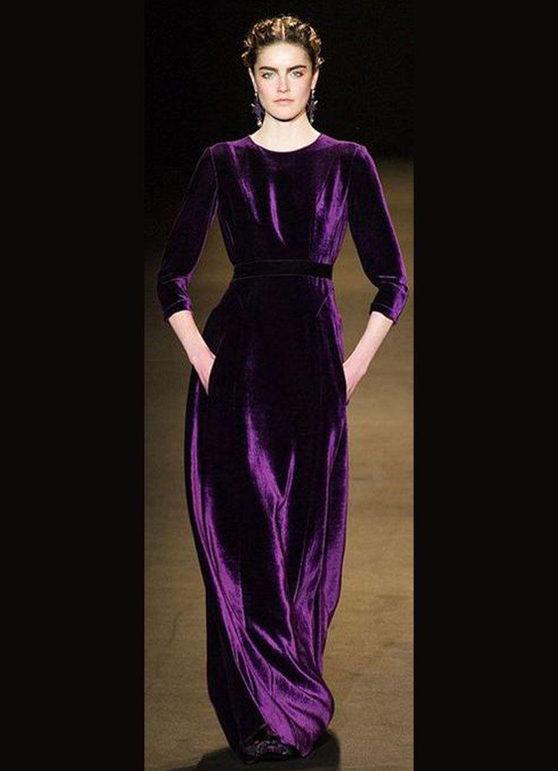 بالصور موديلات فساتين مخمل , اجمل تصاميم فستان مخمل 2777 13