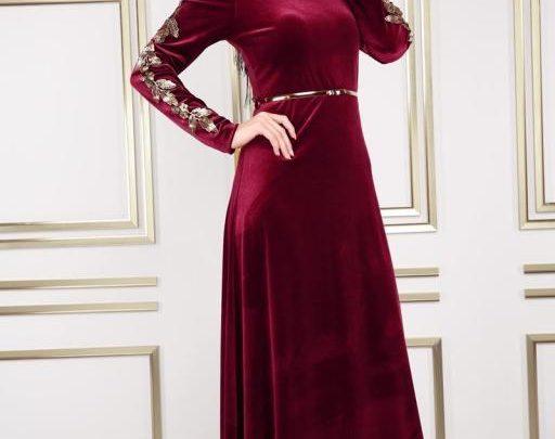 بالصور موديلات فساتين مخمل , اجمل تصاميم فستان مخمل 2777 5