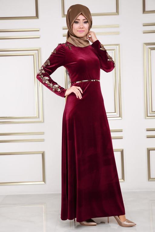 بالصور موديلات فساتين مخمل , اجمل تصاميم فستان مخمل 2777 7