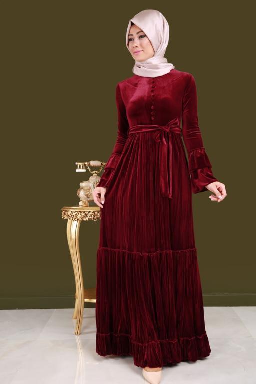 بالصور موديلات فساتين مخمل , اجمل تصاميم فستان مخمل 2777 8