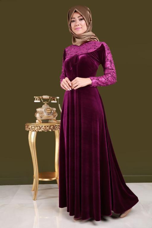 بالصور موديلات فساتين مخمل , اجمل تصاميم فستان مخمل 2777 9